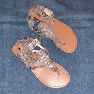 TAGS ON! Metallic snakeskin strappy sandals